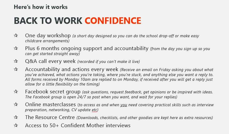 Back to Work Confidence - how it works