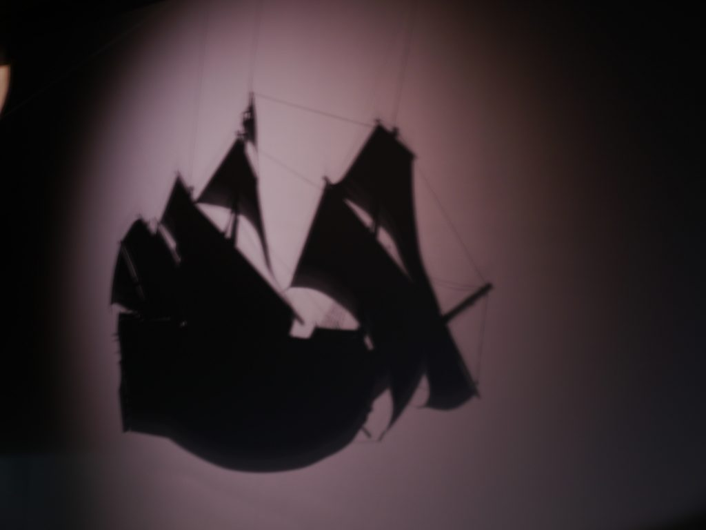 The shadow of the Mary Rose model