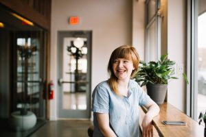 Woman happy with her job search